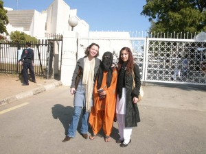 From left to right, Valerie Khan Yusufzai, ASF-Pak chairperson, Naila Farhat, the brave acid survivor, Sana masood, ASF-Pak legal coordinator.