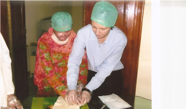 Valerie Khan Yusufzai and Nazeraan, during a French baking lesson at Acid Survivors Foundation Nursing Care and Rehabilitation Unit.