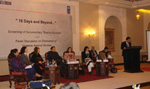 The panel for discussing gender Justice Programme from UNDP and eradication of violence against women.